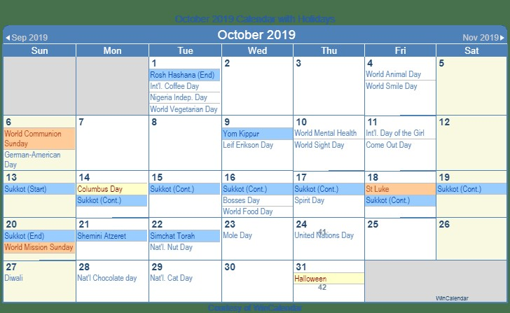 2019 calendar template time and date  October 2019 Calendar With Holidays - 2019 calendar template time and date