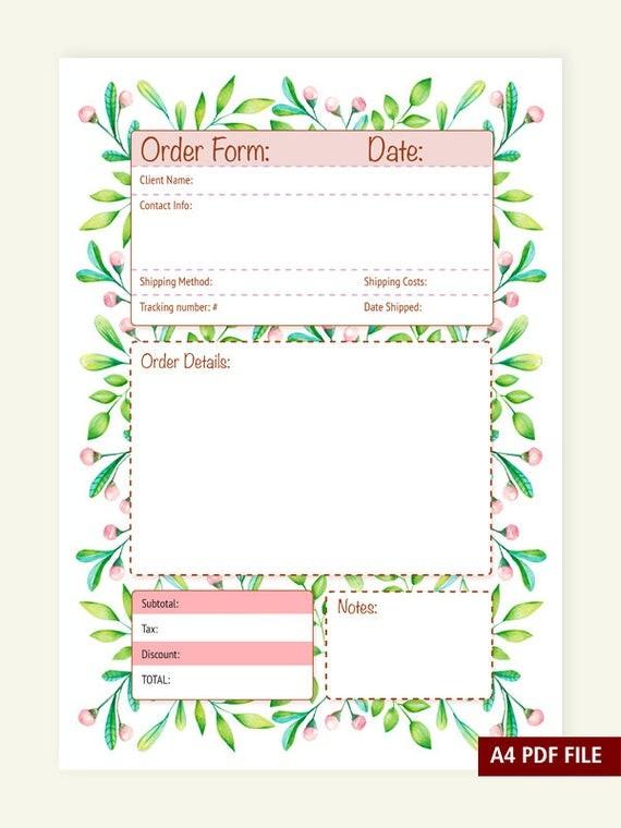 order form cute  Order Form A4 PDF file Instant Download Organization - order form cute