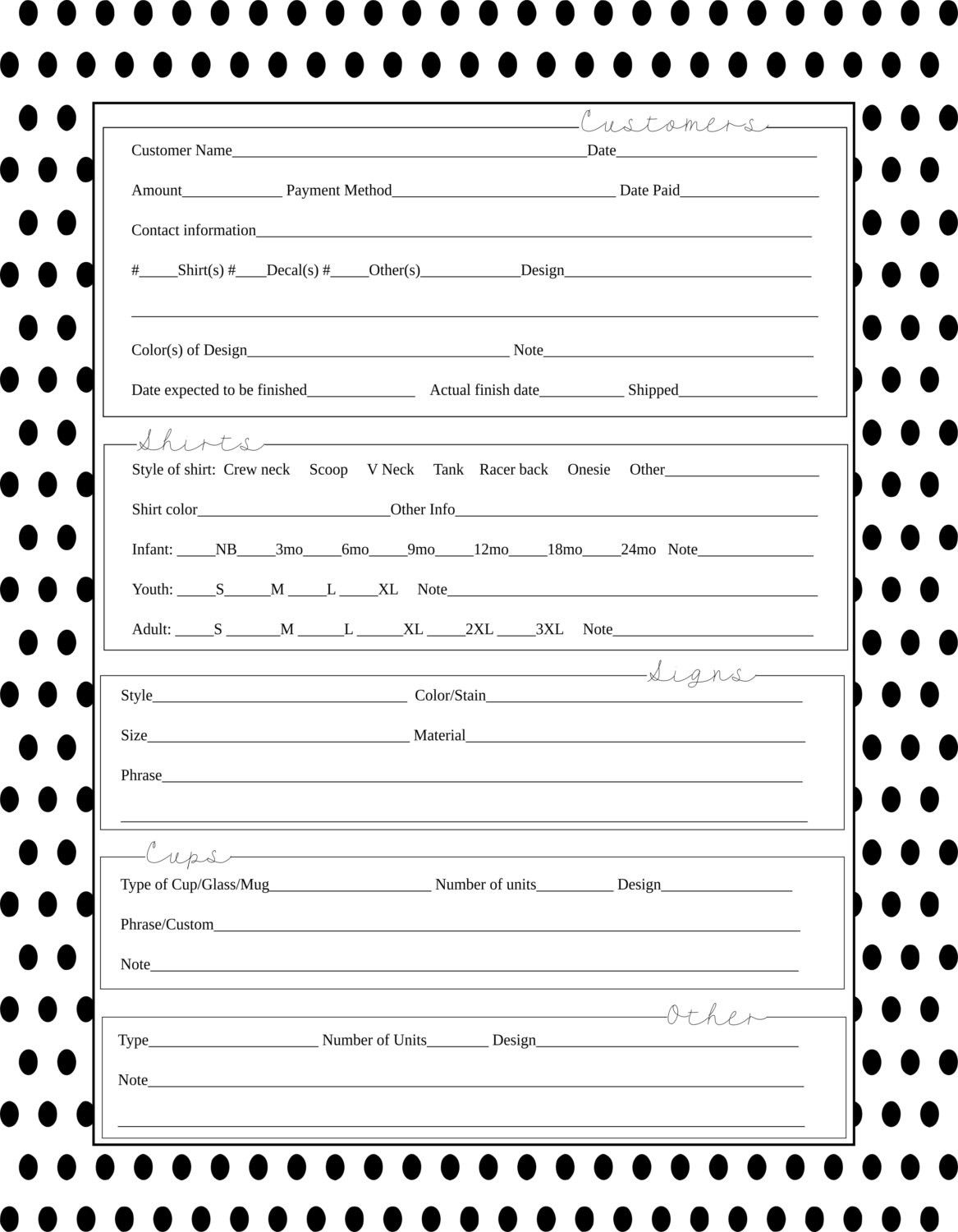 order form for vinyl projects  Polka Dot Order Form Vinyl Business SVG by MemoriesOfMagnitude - order form for vinyl projects
