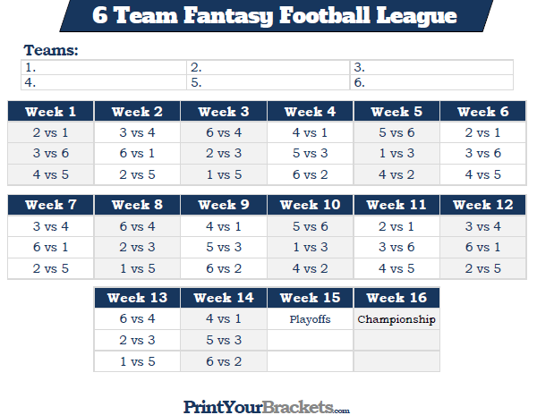 template 5 team league schedule  Printable 6 Team Fantasy Football League Schedule - template 5 team league schedule