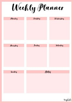 5 day weekly schedule template  Printable weekly planner portrait in Pink by Temploola | TpT - 5 day weekly schedule template