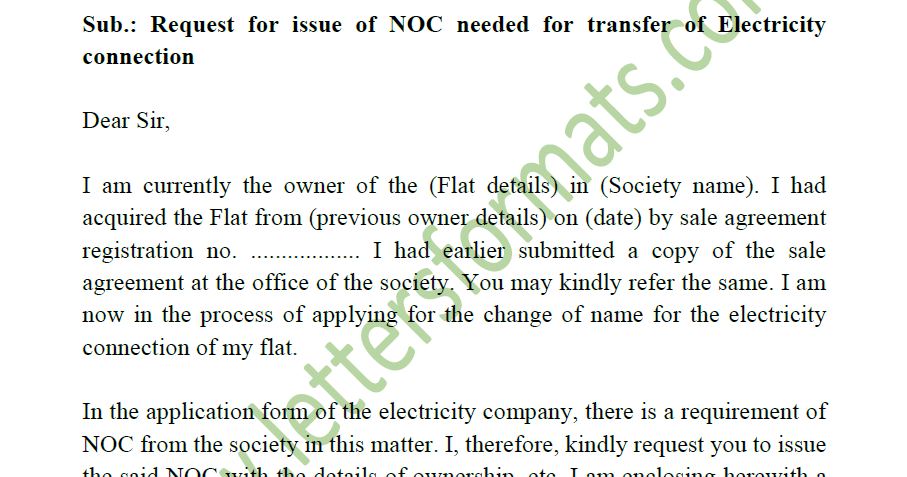 sample request letter for new electricity connection  Request Letter to Society for NOC for Electricity Meter ..
