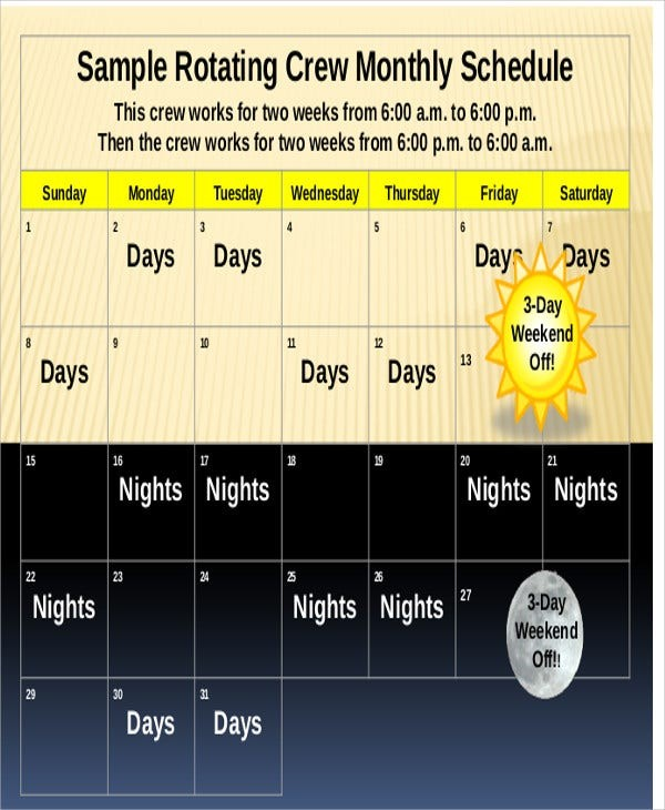 schedule template monthly  Rotating Schedule Template - 10+ Free Samples, Examples ..