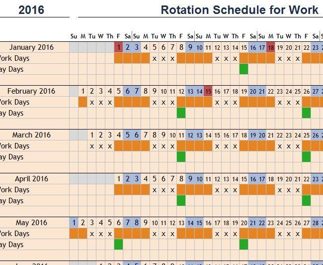 4 day work schedule template  Rotation Schedule for Work - My Excel Templates - 4 day work schedule template