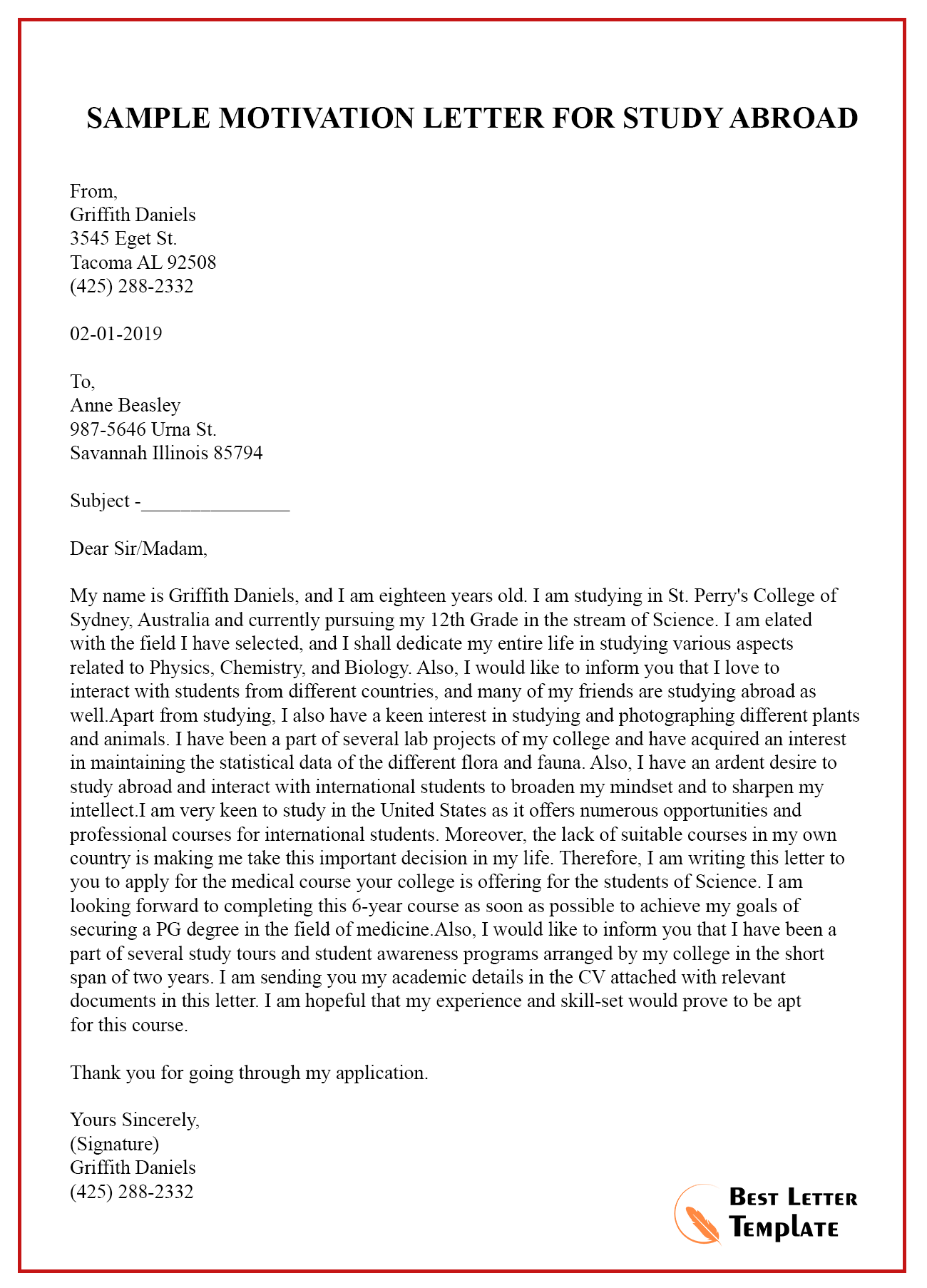 motivation letter example university admission  Sample Motivation Letter Template for Study Abroad – PDF ..