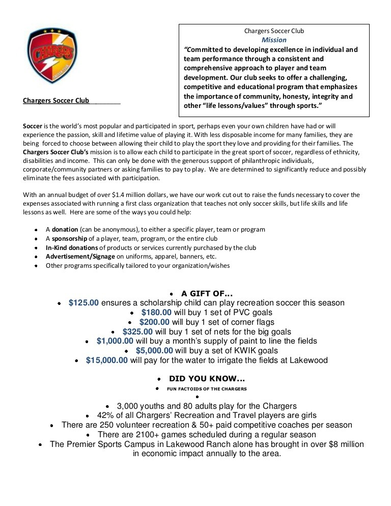 sample donation request letter for youth soccer sports team  Sponsor And Donation Letter Updated - sample donation request letter for youth soccer sports team