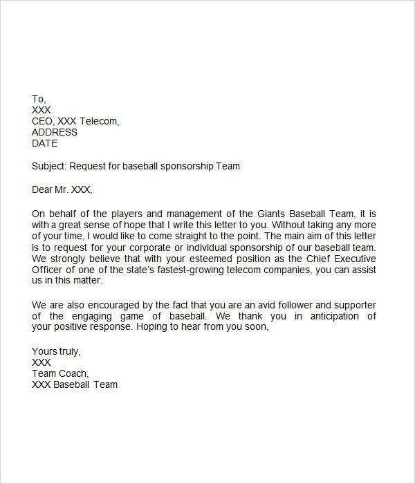 sample sponsorship request letter for youth sports team  Sponsorship Letter - 7+ Free Download for Word - sample sponsorship request letter for youth sports team