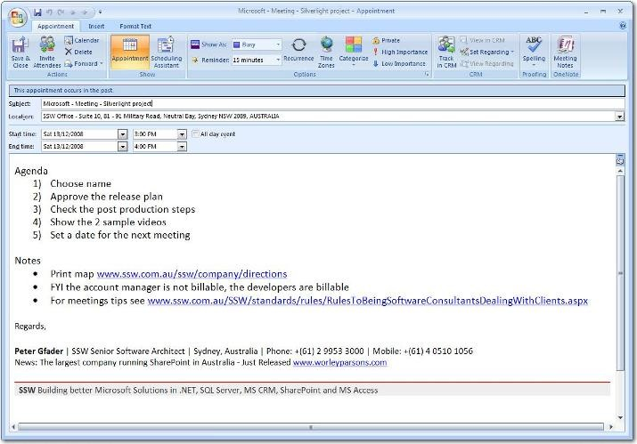 outlook meeting request template  [SSW Rules] Meetings - Do you know the way meetings should ..