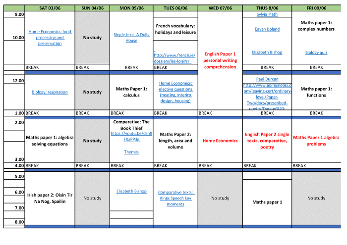 study timetable template for junior cert Study timetable template junior cert - study timetable template for junior cert