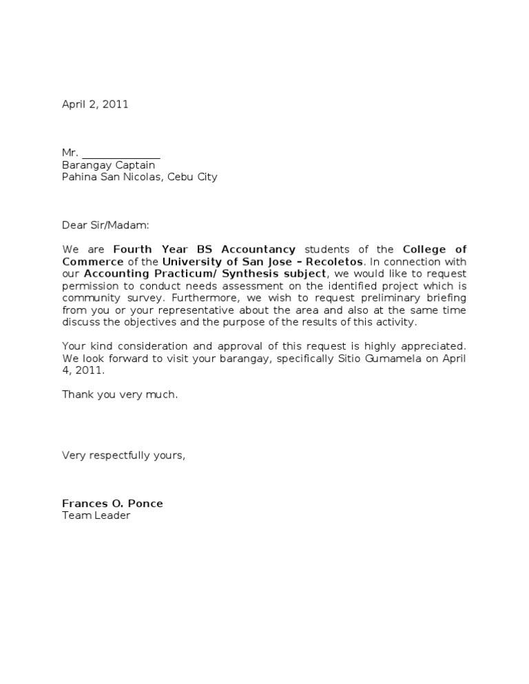 sample request letter for barangay assistance  Survey Letter (Group1) - sample request letter for barangay assistance