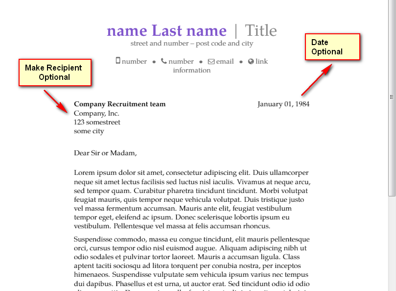 letter template date  templates - Make Recipient & Date optional in ModernCV ..