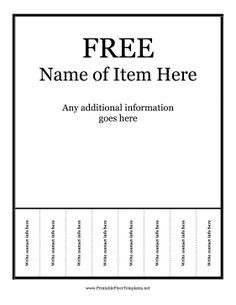 template for flyer with tear off strips  This very basic flyer template is highly customizable and ..