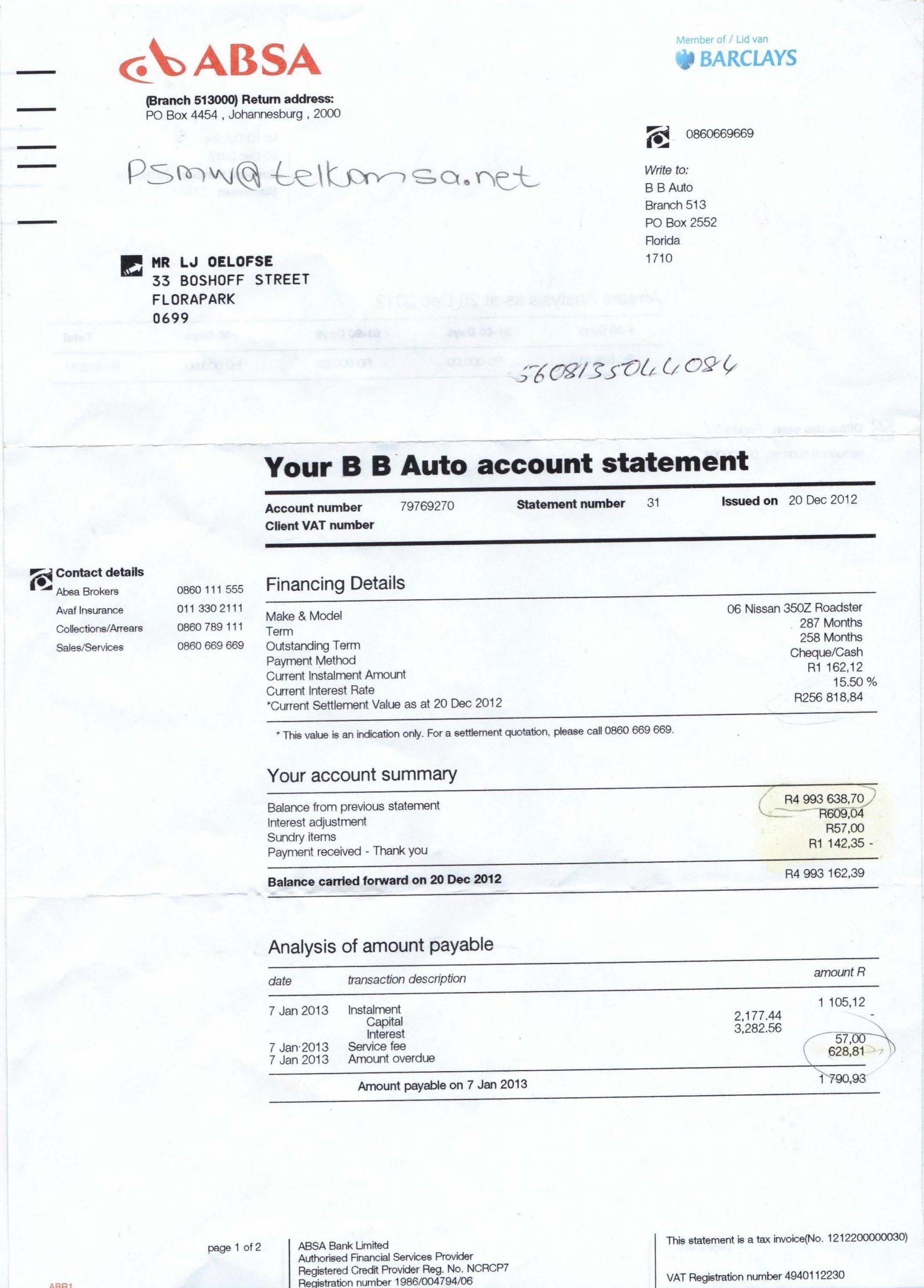 bank statement 3 months  troubling ABSA statement - Debtfree Magazine - bank statement 3 months