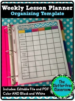 3 day planner template  Week at a Glance Lesson Planning Organizer {Pacing ..