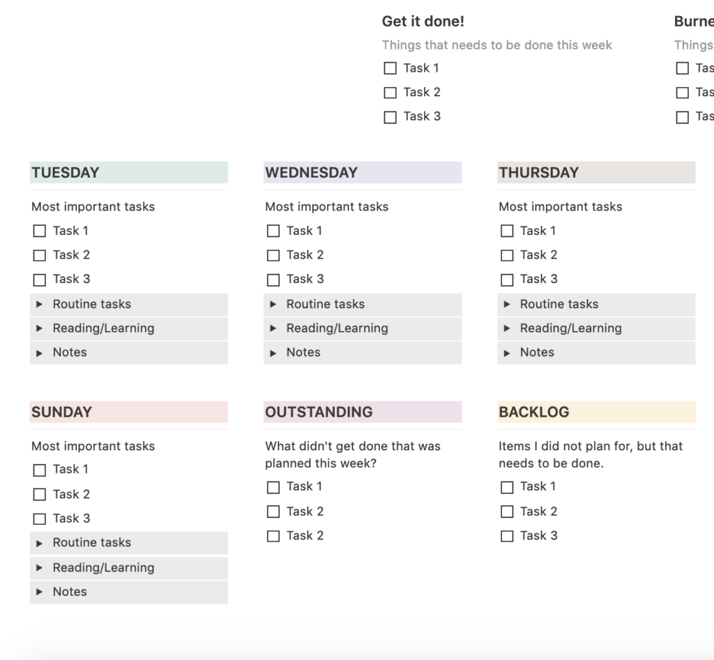 weekly schedule template notion  Weekly Planning Template – Notion Pages ⚡️ - weekly schedule template notion