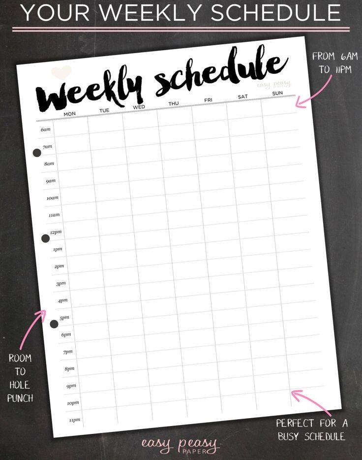schedule template aesthetic  Weekly Schedule, Printable Weekly Timetable, Ideal Week ..