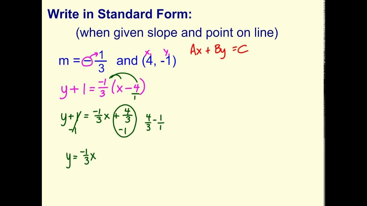 point slope intercept form of a linear equation  Write Standard Form (when given point and slope) - YouTube - point slope intercept form of a linear equation