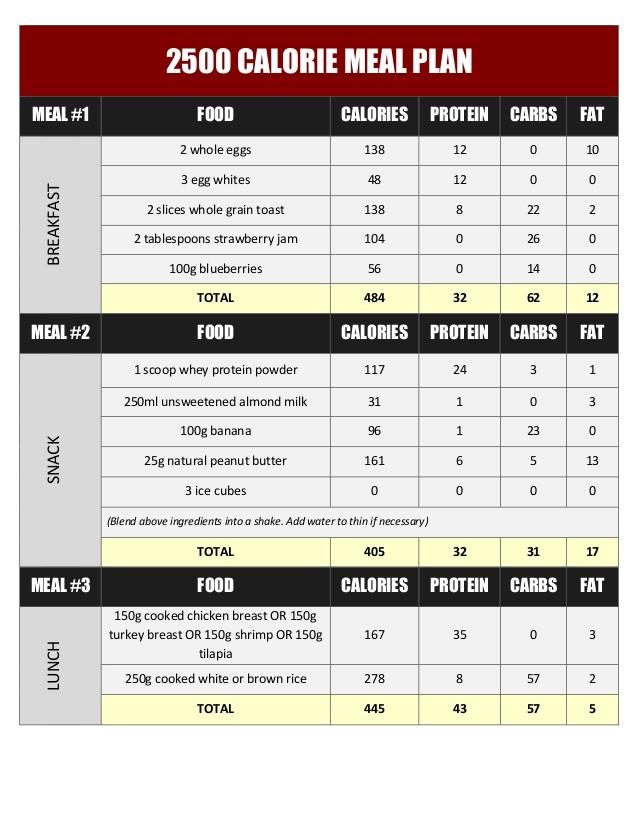 meal plan 2500 calories  2500 Calorie Meal Plan For Weight Loss Pdf – Blog Dandk - meal plan 2500 calories