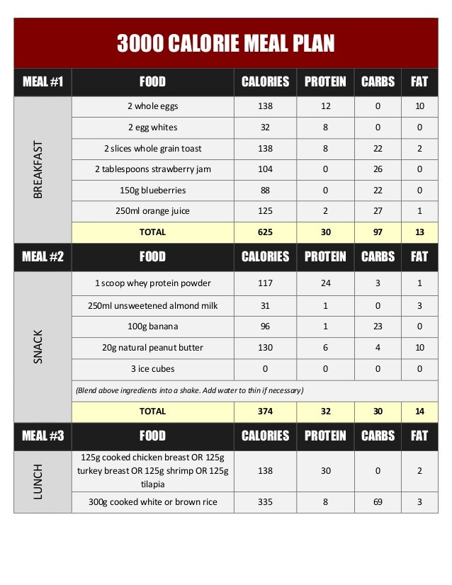 meal plan for 3 000 calories a day  3000 Calorie Meal Plan To Gain Weight Pdf – Blog Dandk - meal plan for 3 000 calories a day
