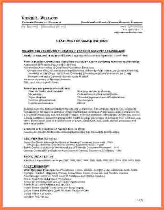 letter of qualifications template  6+ statement of qualifications template - Registration ..