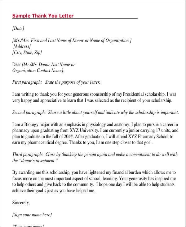 thank you letter template for students  8+ Student Letter Templates - 8+ Free Sample, Example ..