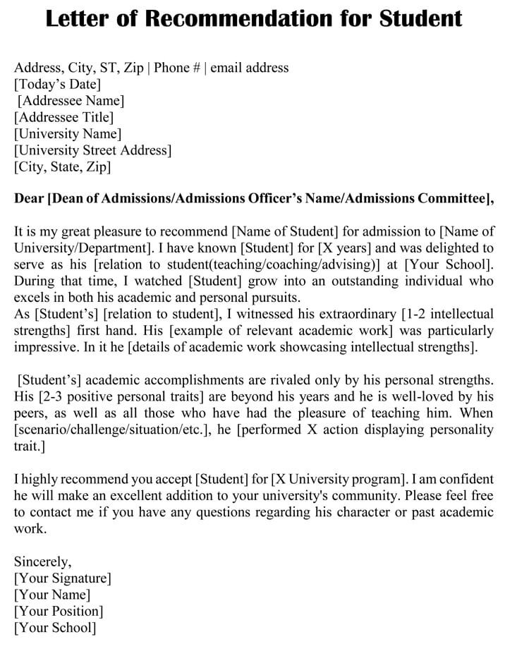 recommendation letter uni  Academic Recommendation Letter (20+ Sample Letters ..