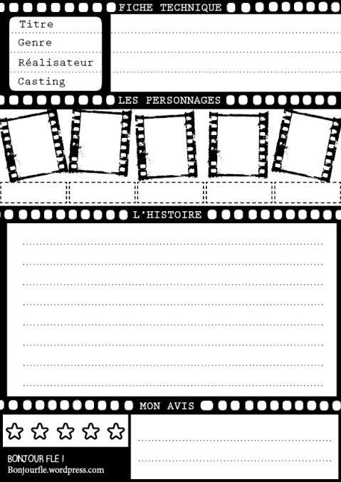 x free worksheets  bonjourfle : Template – Présenter un film | Fle, Film ..