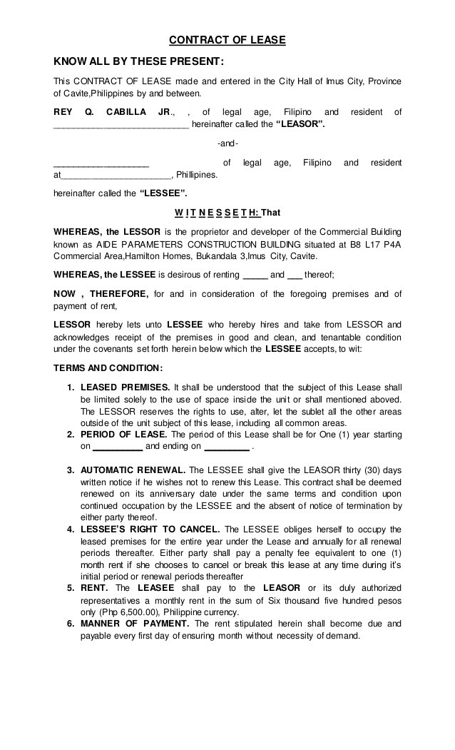 rent agreement form jamaica  CONTRACT OF LEASE (1) - rent agreement form jamaica