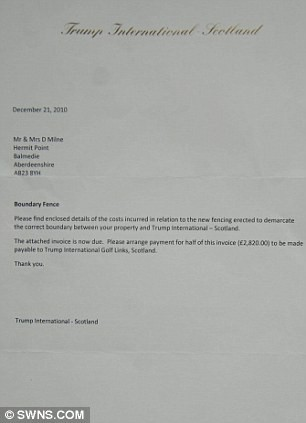 letter template neighbour fence  Donald Trump puts up barrier and trees around Scottish ..