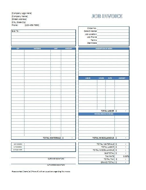construction job checklist template excel  Excel Job Invoice Template - Free Download - construction job checklist template excel