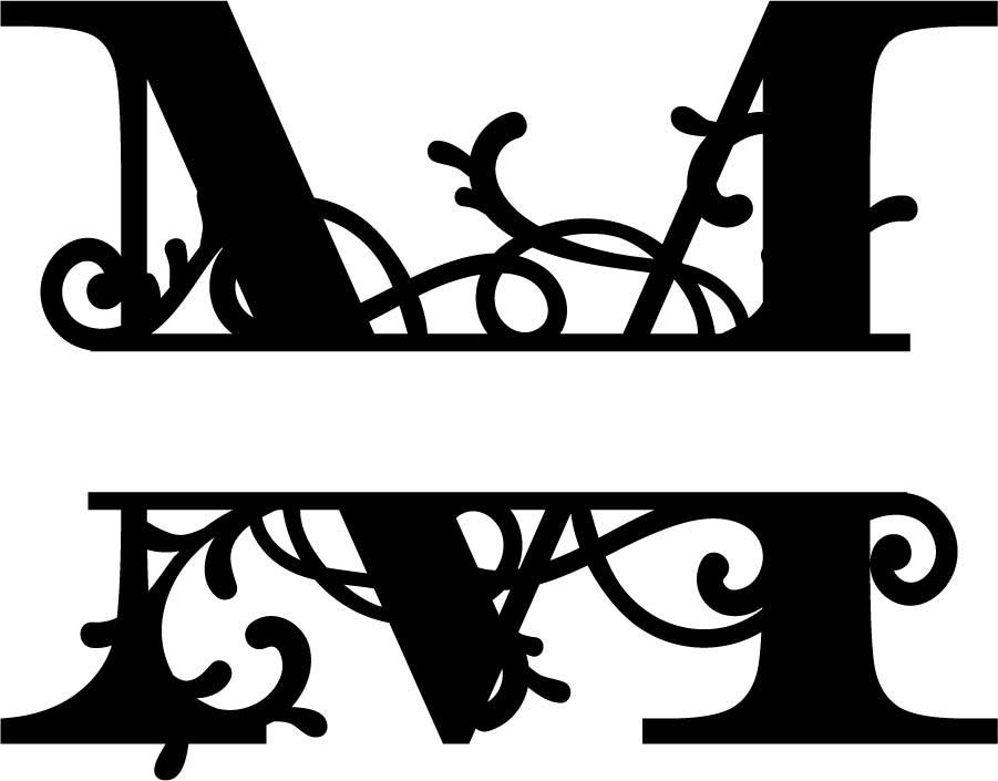 letter m monogram template  Flourished Split Monogram M Letter (.eps) Free Vector ..