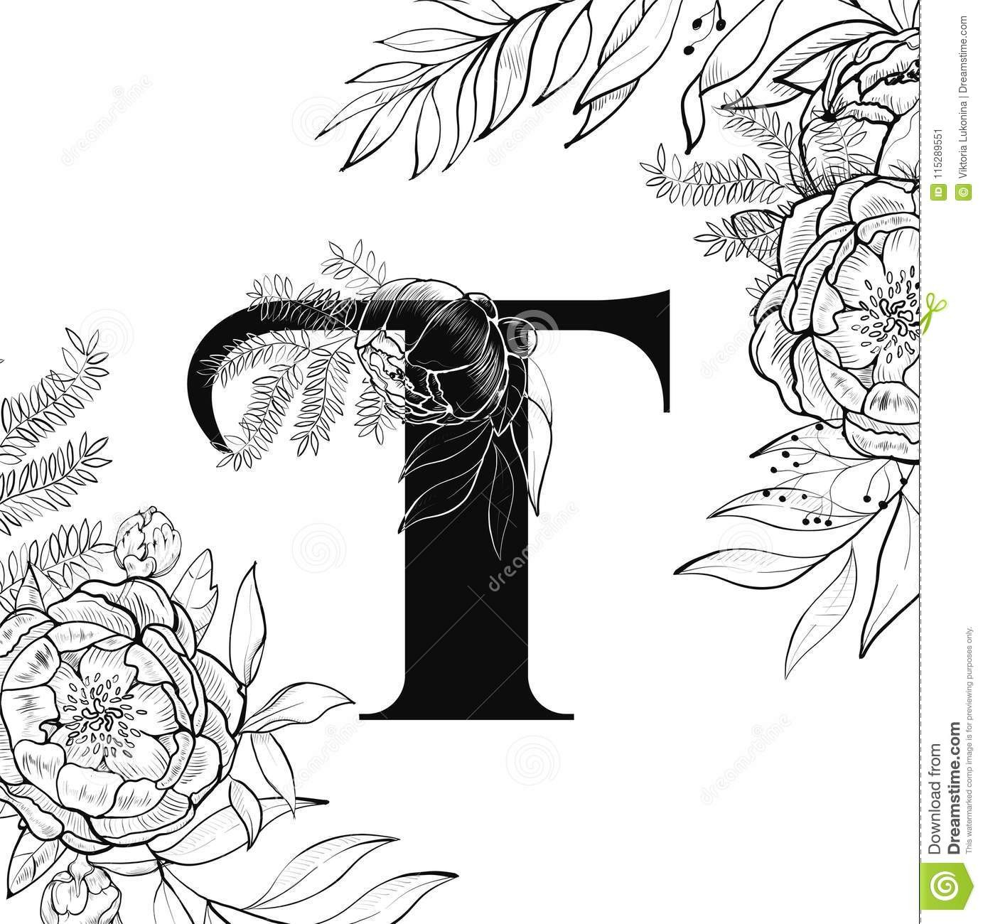 fancy letter t template  Flower Alphabet Letter T Pattern Stock Vector ..