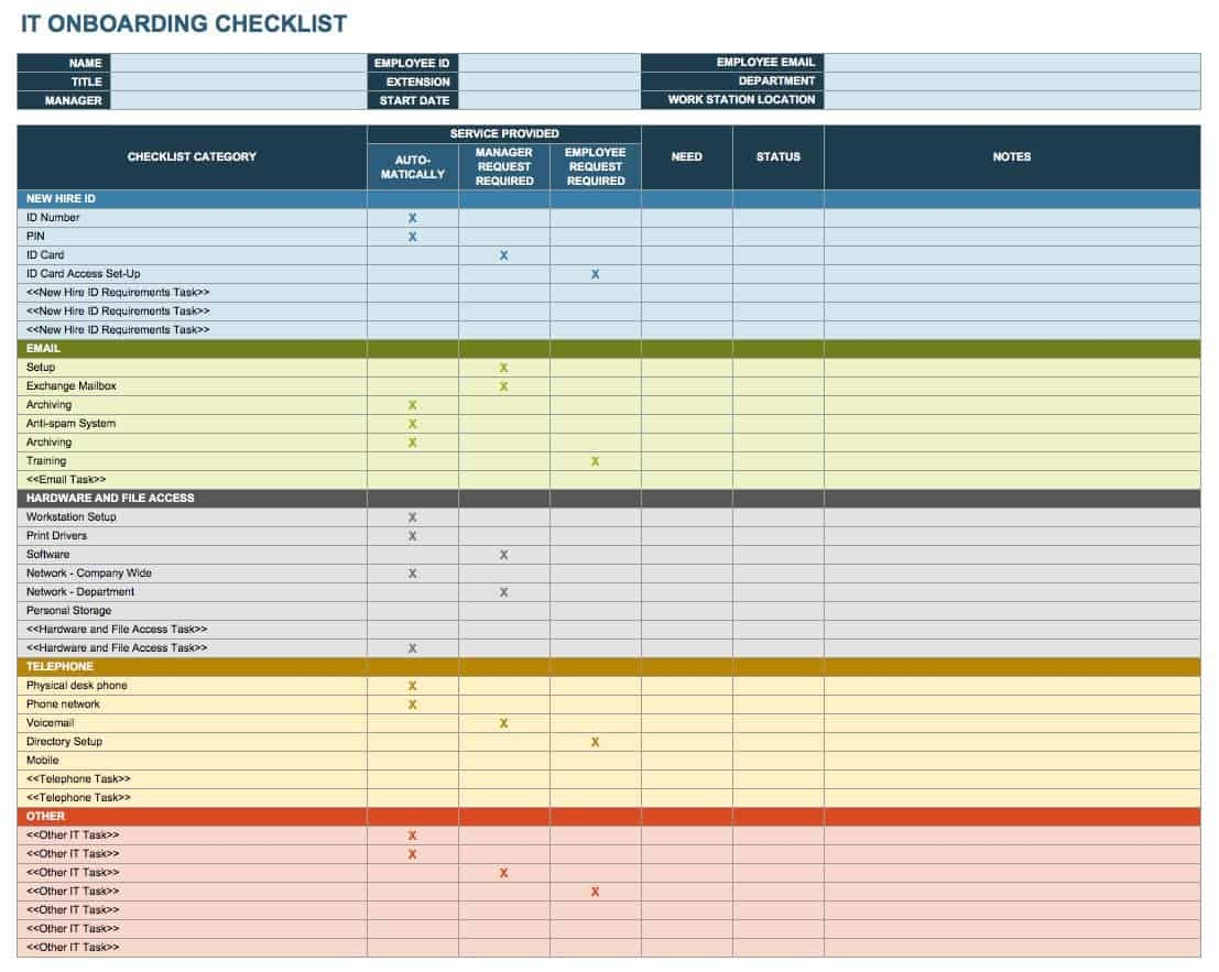 onboarding checklist template xls  Free Onboarding Checklists and Templates | Smartsheet - onboarding checklist template xls