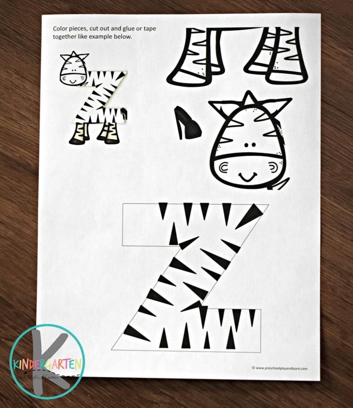 letter z zebra craft template  free printable Letter z craft of a zebra; perfect ..