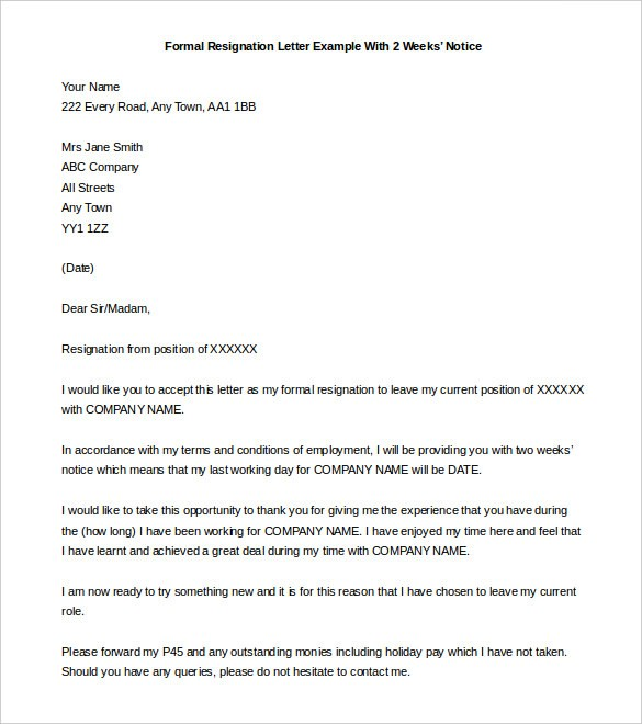 resignation letter template 2 month notice  Free Two weeks Notice Letter, 15+ Samples & Examples ..