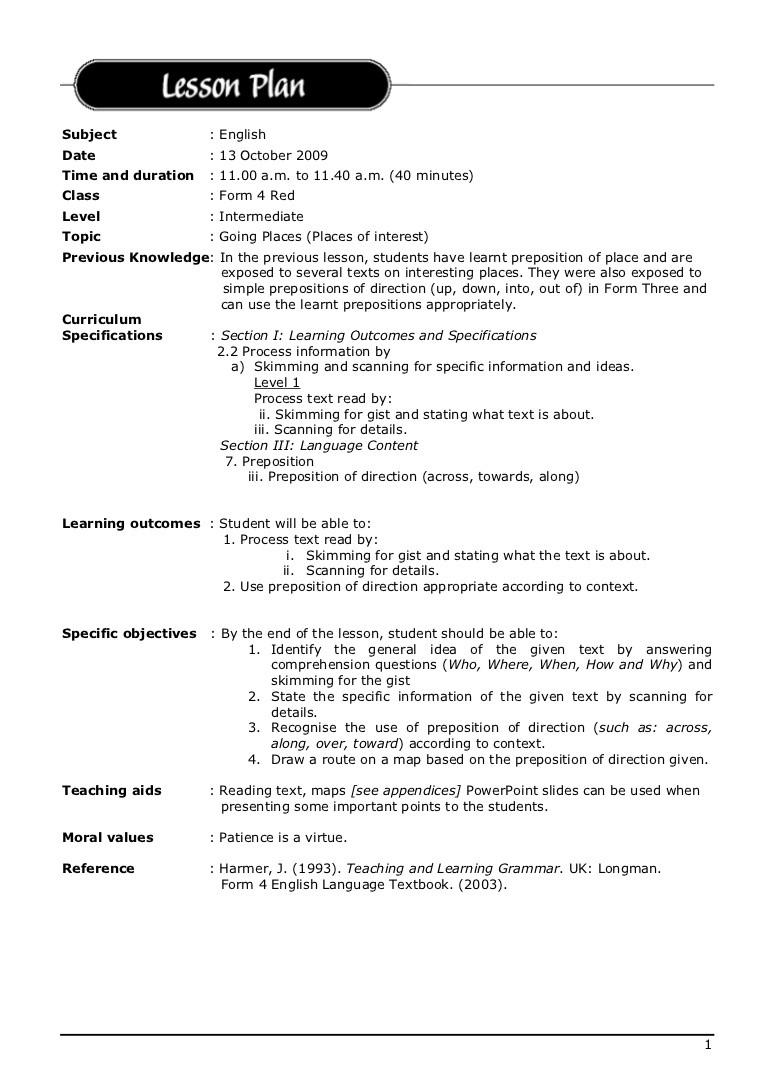 english lesson plan template  Lesson plan english 2 - english lesson plan template