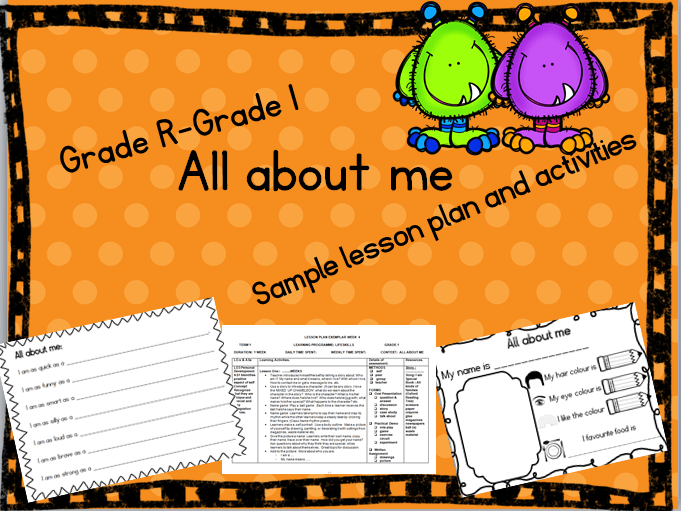 grade r lesson plan term 1  LIFE SKILLS: Grade R - 1 All about me CAPS lesson plan and ..