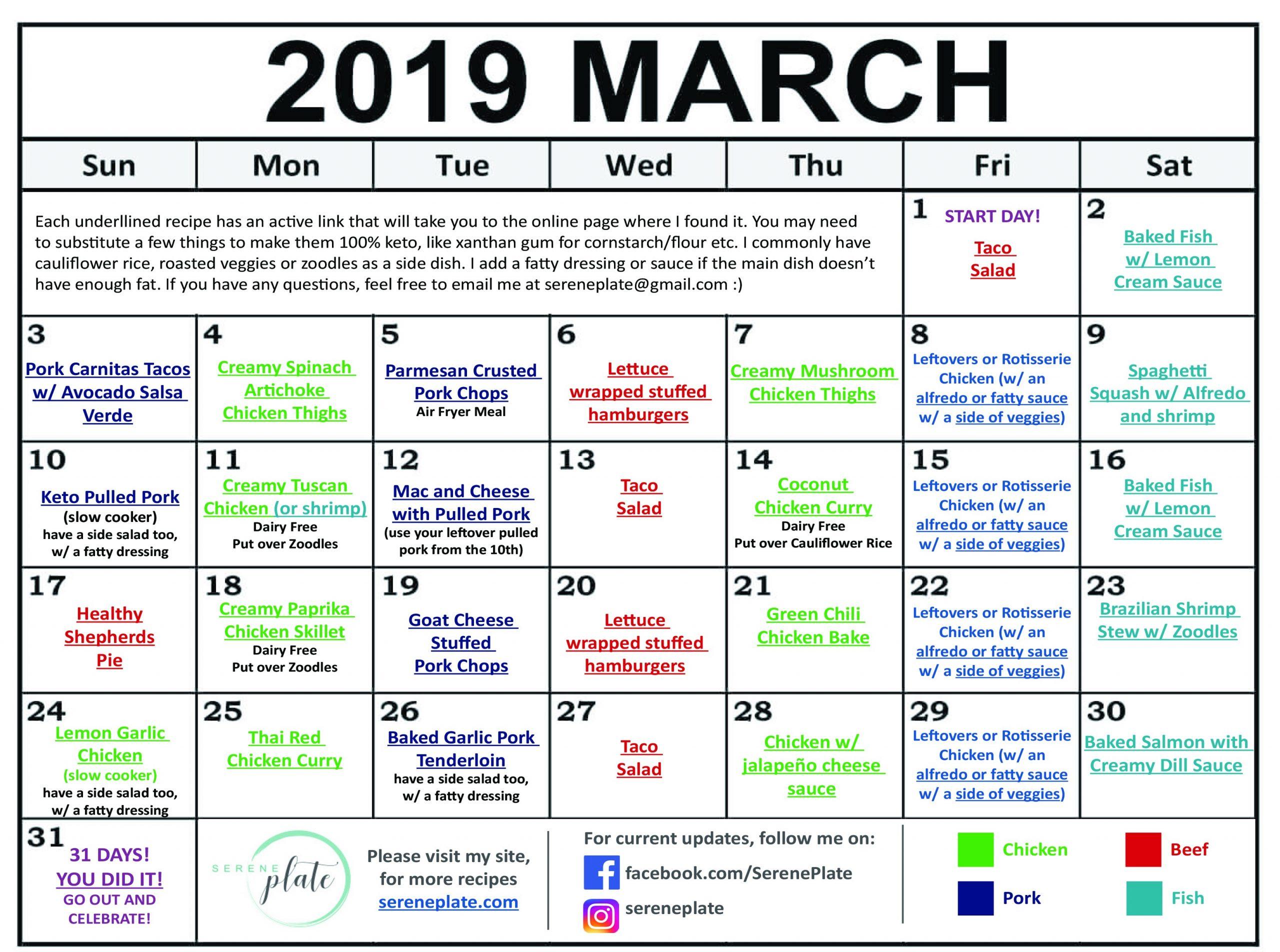 i week keto meal plan  March Keto Meal Plan | Heatlhy Low Carb Diet | Serene Plate - i week keto meal plan