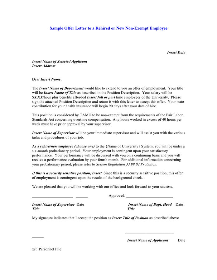 letter template rehire letter after layoff  Sample offer letter to a rehired or new non-exempt ..
