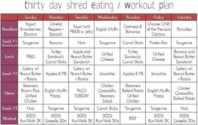 meal plan 30 day shred  Thirty Day Shred Eating/Workout Plan | Motivations | Pinterest - meal plan 30 day shred