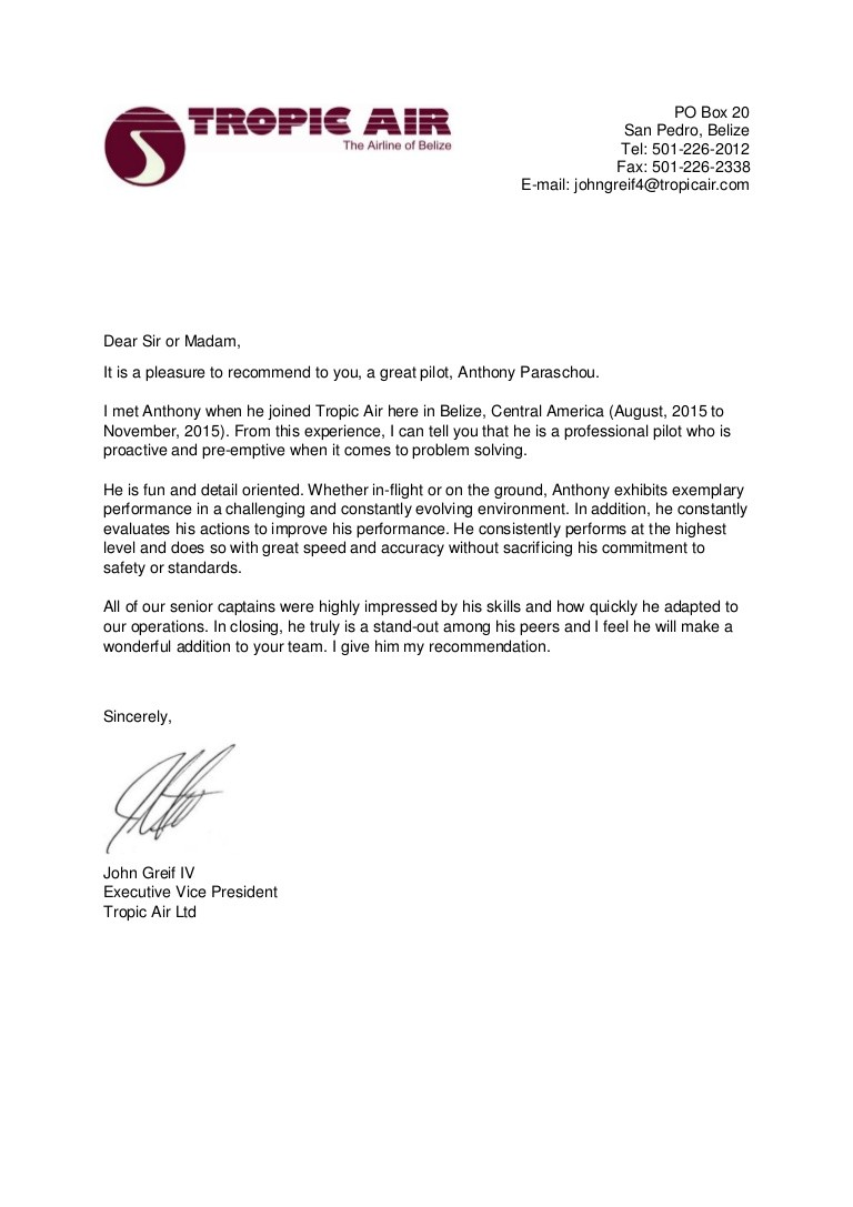 2 letters of recommendation  Tropic Air, Letter of Recommendation - 2 letters of recommendation