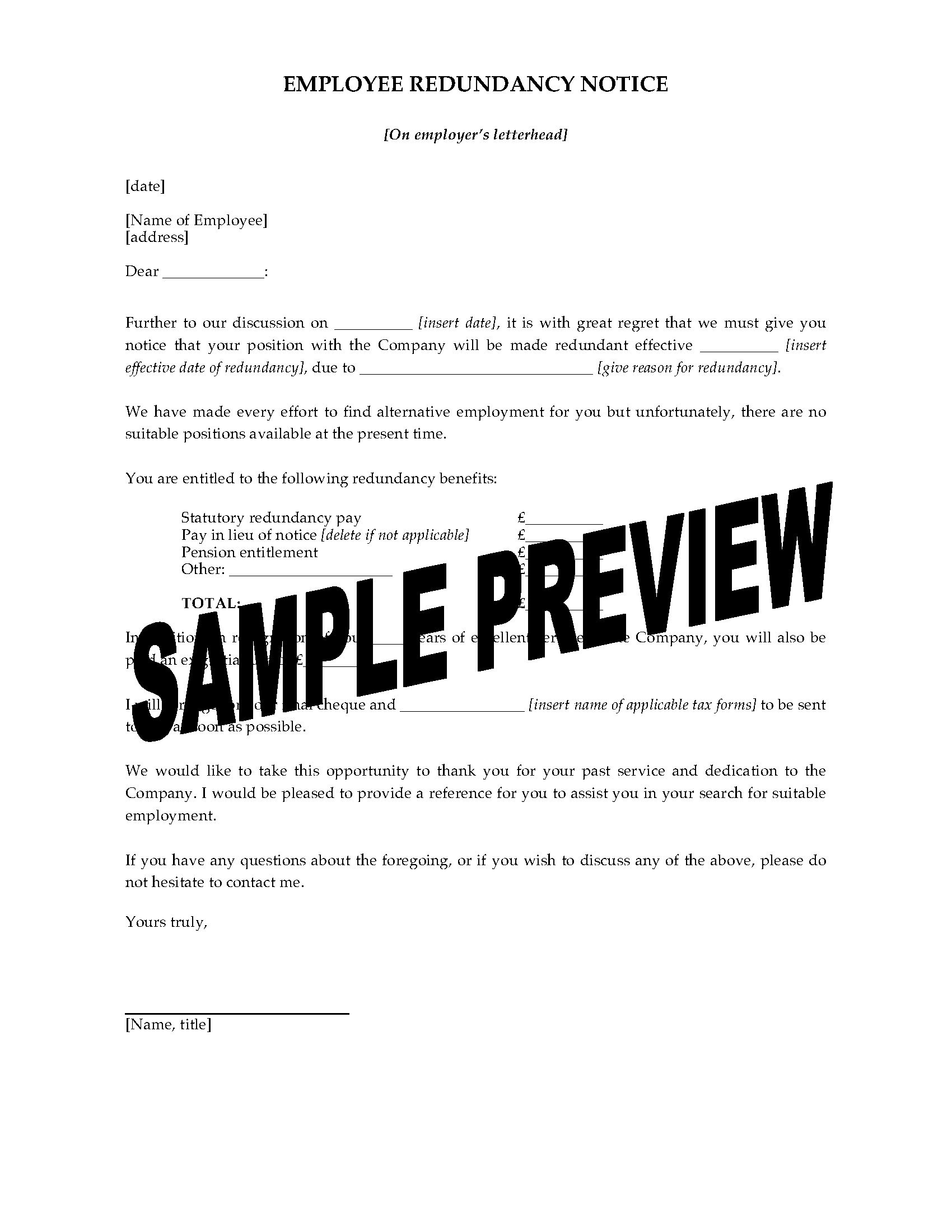 redundancy letter template uk  UK Employee Redundancy Notice Form | Legal Forms and ..