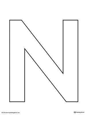 free printable letter n template  Uppercase Letter N Template Printable | MyTeachingStation