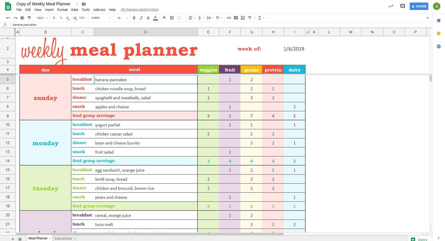 meal plan google sheets  Weekly Meal Planner - Google Sheets Template – Savvy ..