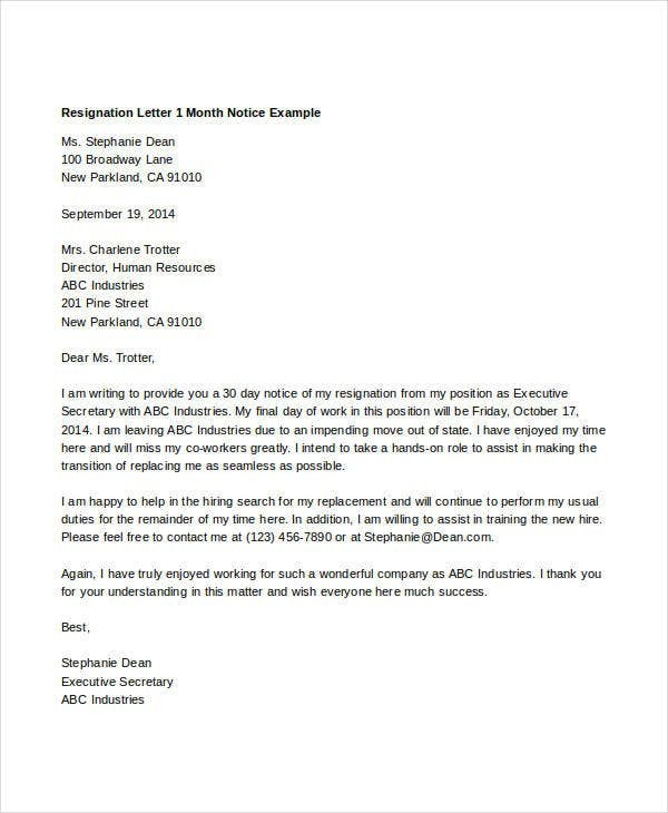 resignation letter after 1 month on the job  21+ Simple Resignation Letters | Free & Premium Templates - resignation letter after 1 month on the job