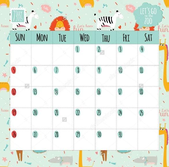 calendar template cartoon  23+ Sample Birthday Calendar Templates - PSD, EPS, AI ..