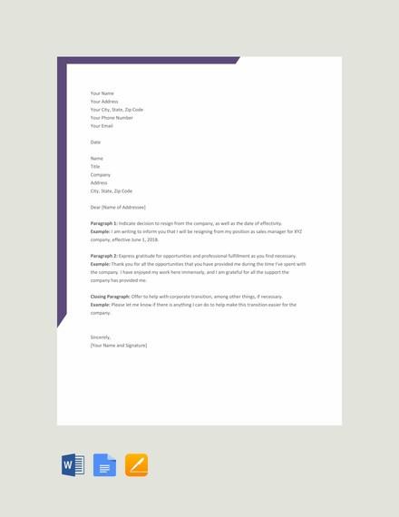 resignation letter verbiage  35+ Simple Resignation Letter Examples - PDF, Word | Examples - resignation letter verbiage