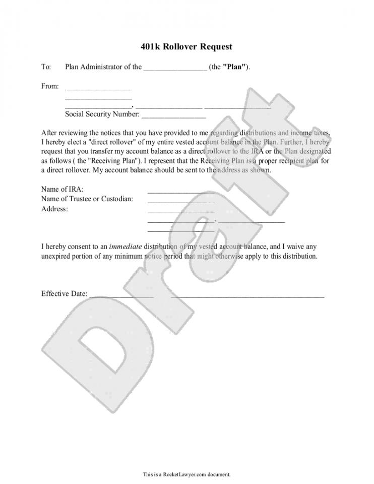 401 k rollover request letter  401k Rollover Letter Template - 401 k rollover request letter