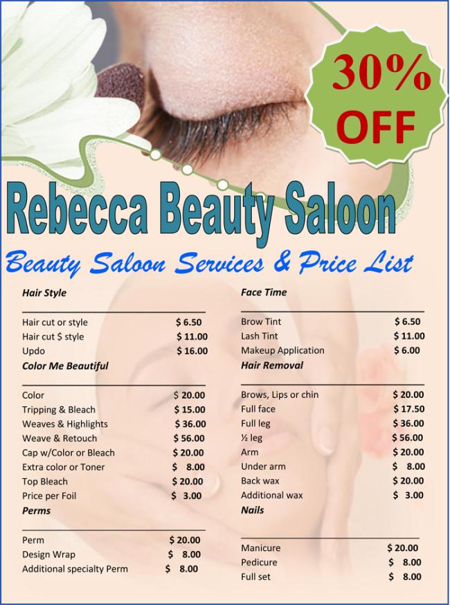 price list template for hair salon  6+ Free Editable Price List Templates (Word | Excel) - price list template for hair salon
