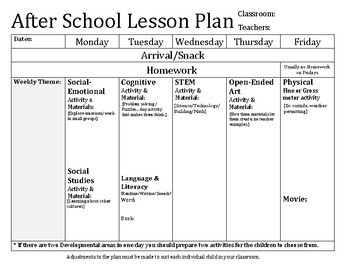 y afterschool lesson plan template  After School Lesson Plan Template by Christin Farmosa | TpT - y afterschool lesson plan template